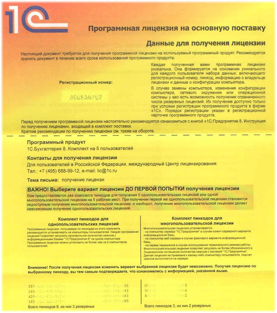 Программная 1С Лицензия